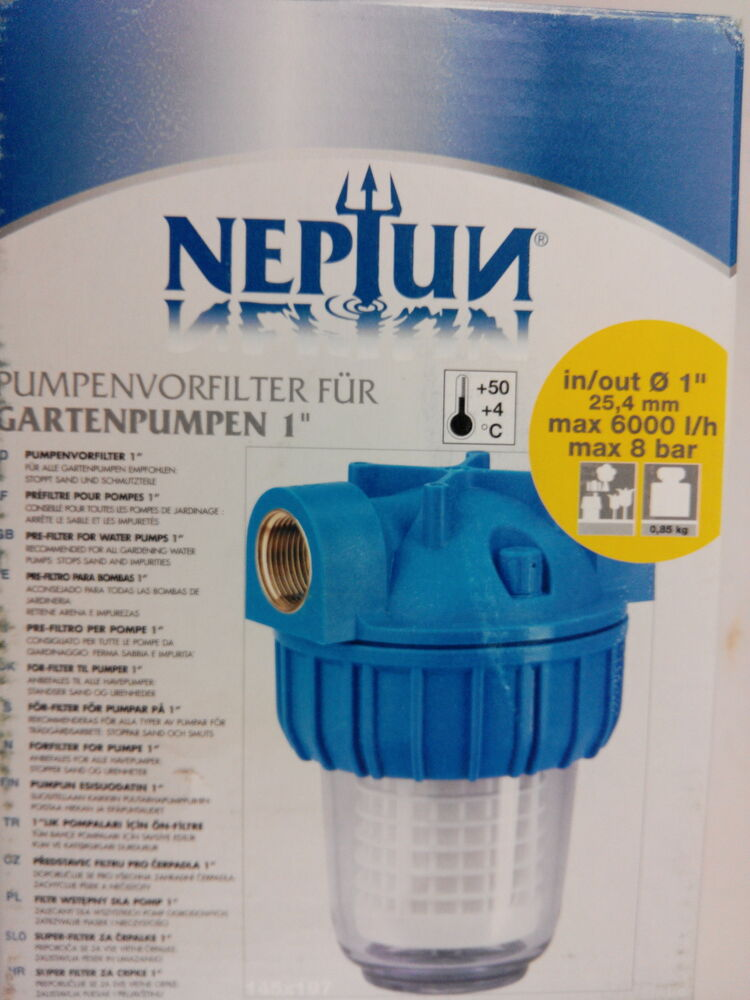 neptun filter pumpenvorfilter f r gartenpumpen 1 vorfilter ebay. Black Bedroom Furniture Sets. Home Design Ideas