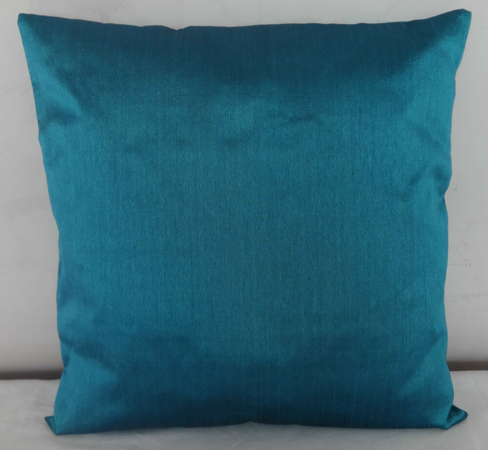 Teal blue faux silk square sofa solid throw decorative for Sofa cushion covers 24x24