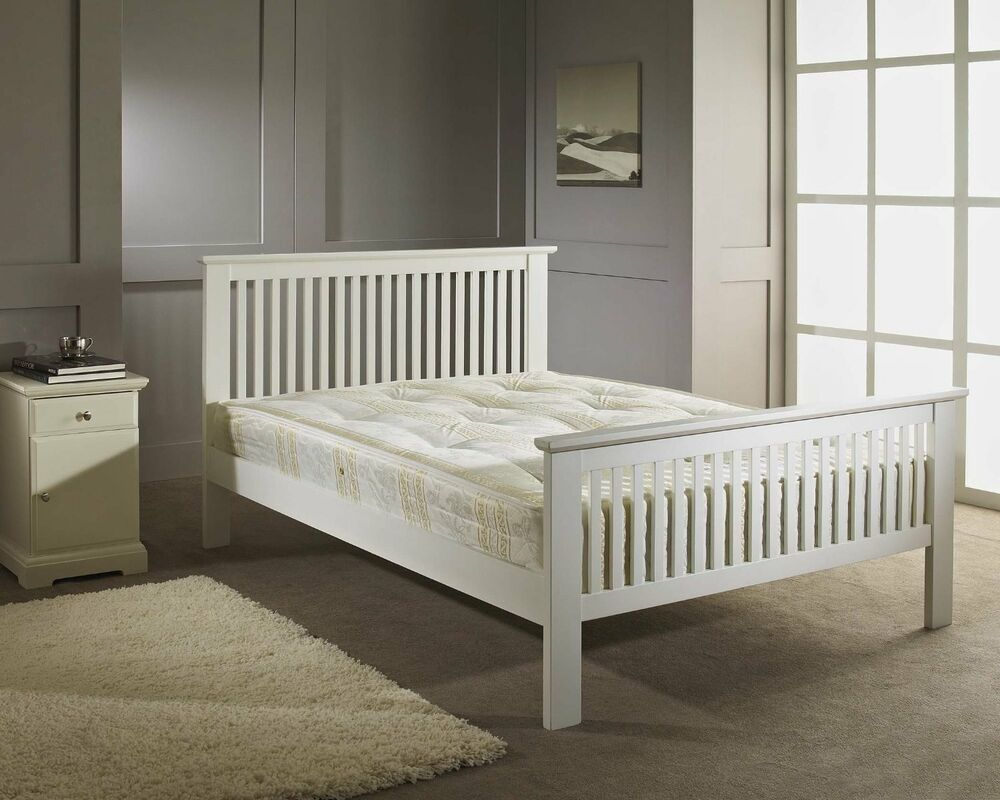 new white finish shaker 4ft6 double wooden bed frame ebay. Black Bedroom Furniture Sets. Home Design Ideas