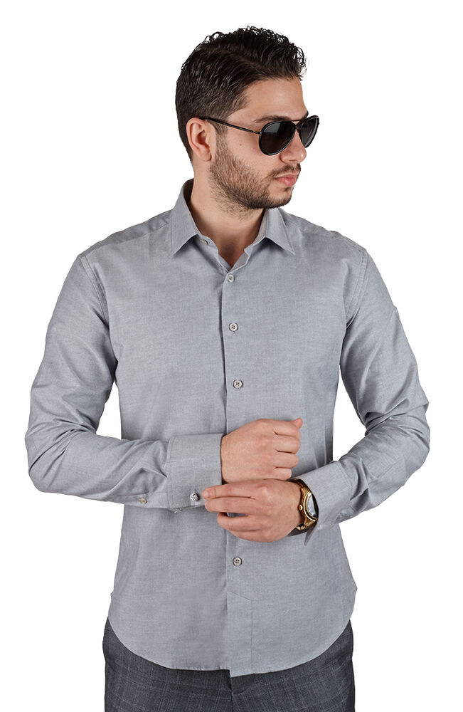 Grey tailored slim fit men 39 s french cuff dress shirt for Mens white french cuff shirt