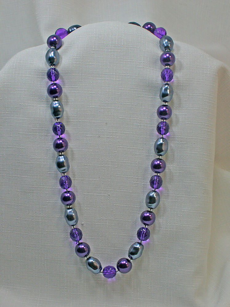 Joan rivers deep purple necklace with faceted crystal for Joan rivers jewelry necklaces