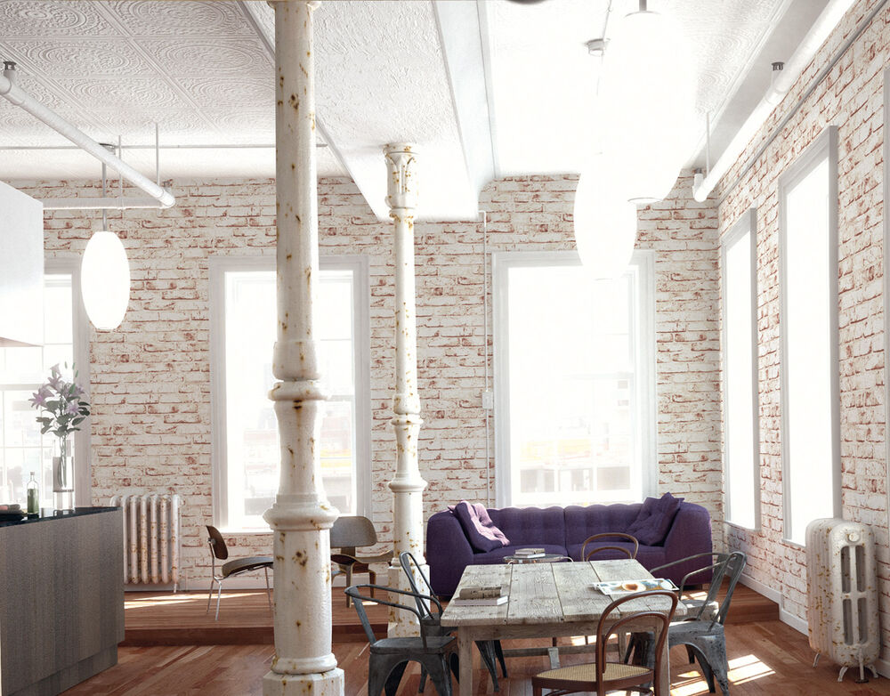 Realistic white painted distressed red brick wall effect for Distressed brick wall mural