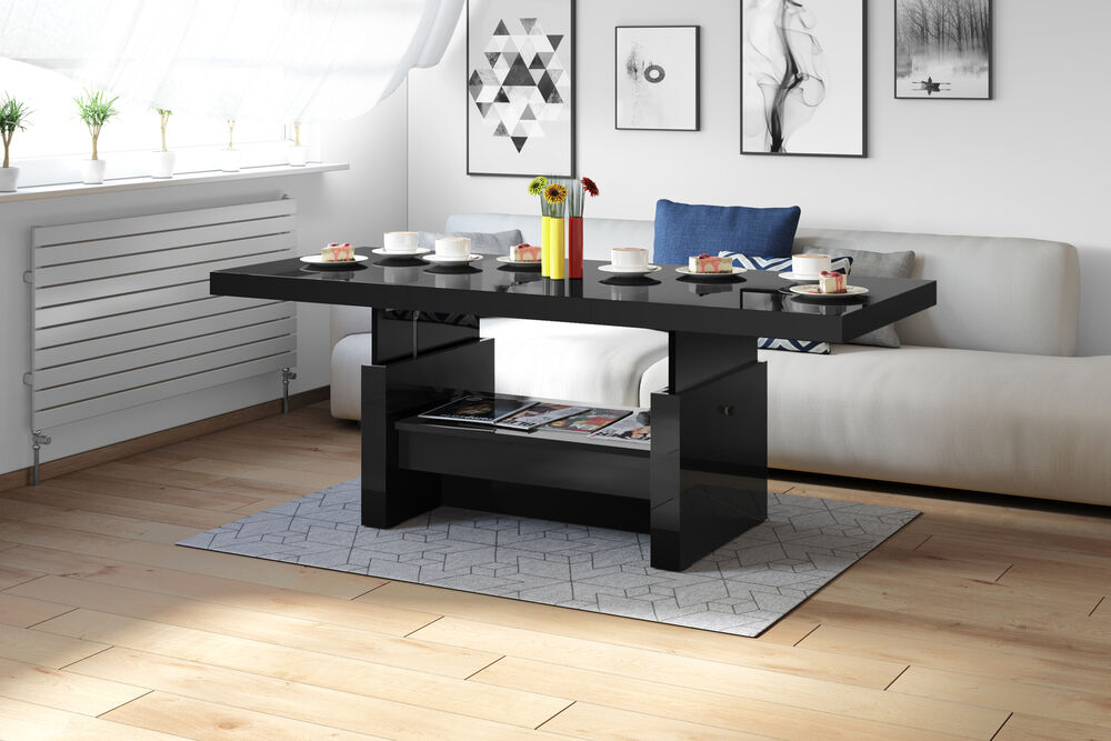 couchtisch aversa h 111 schwarz hochglanz h henverstellbar ausziehbar schublade ebay. Black Bedroom Furniture Sets. Home Design Ideas