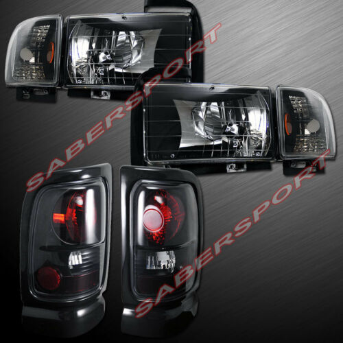 combo-set-of-euro-clear-black-headlights-taillights-for-9401-dodge-ram-pickup