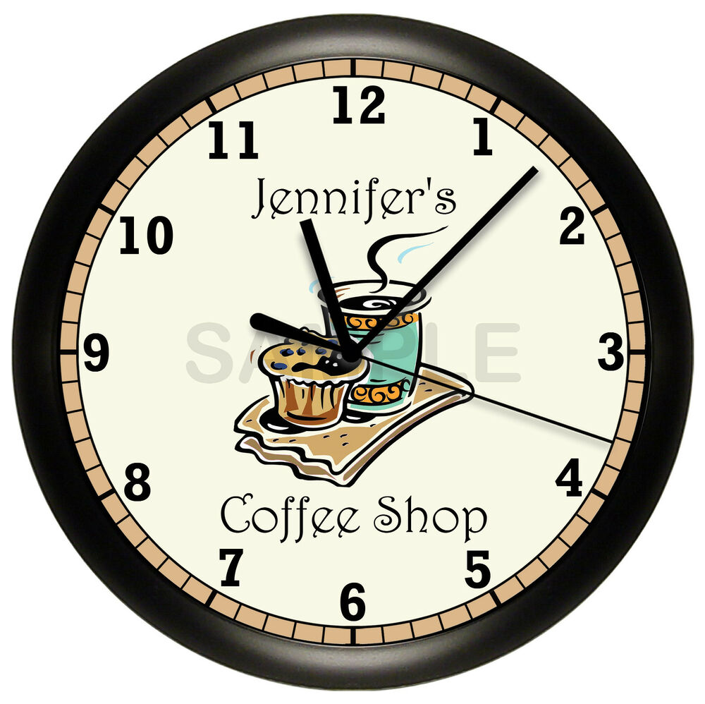 coffee shop wall clock personalized gift wall decor. Black Bedroom Furniture Sets. Home Design Ideas