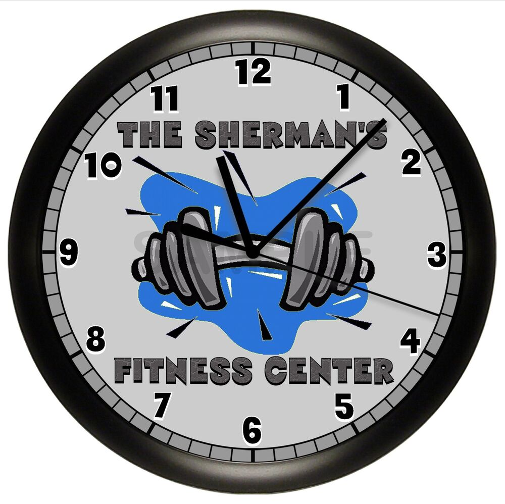 fitness clock dumbbell wall gym workout weights decor home