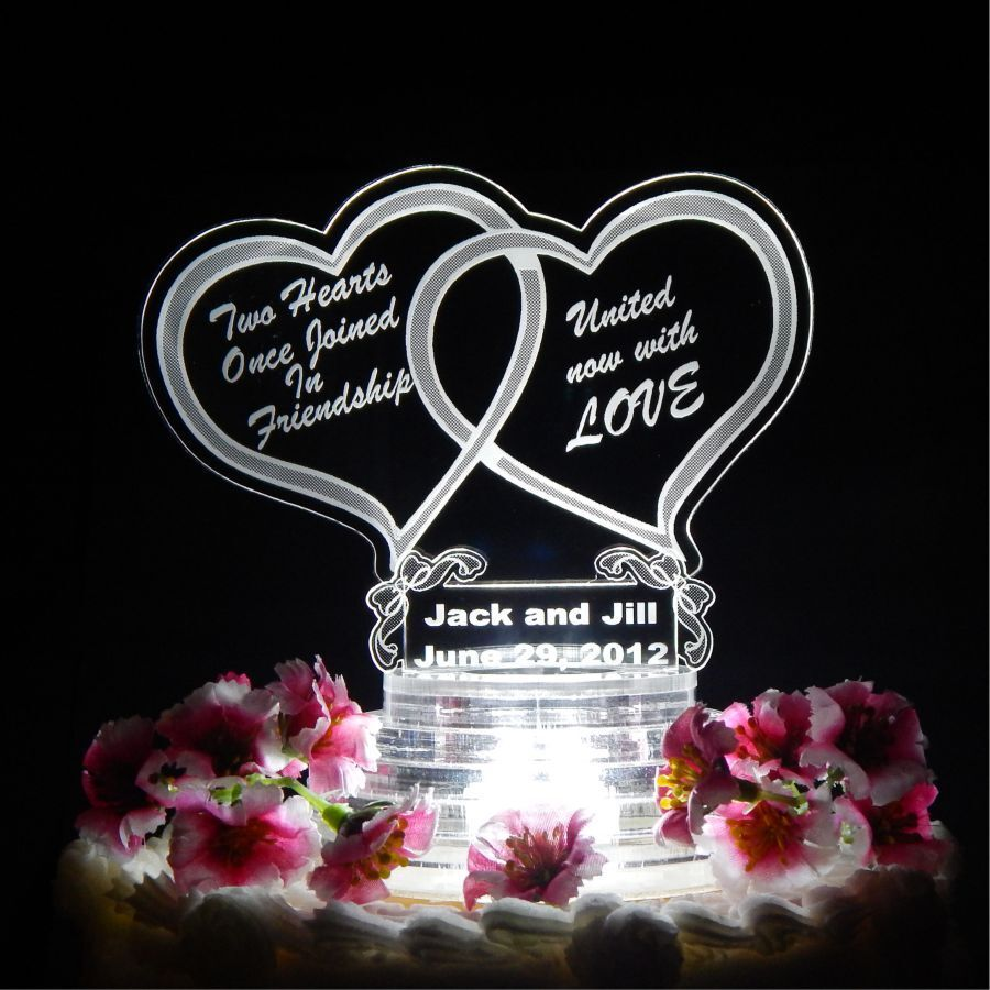 wedding cake toppers hearts personalized custom lit wedding cake top topper acrylic 26489