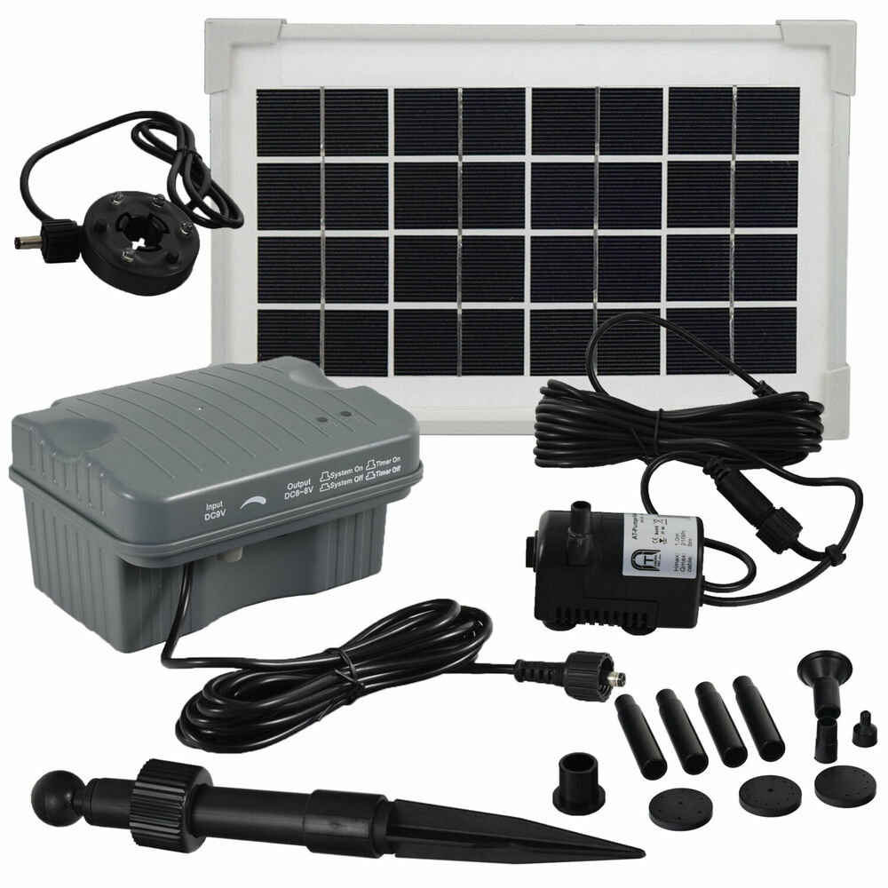 solar springbrunnen pumpen teichpumpen set wasserspiel akku led 3 5 watt garten ebay. Black Bedroom Furniture Sets. Home Design Ideas