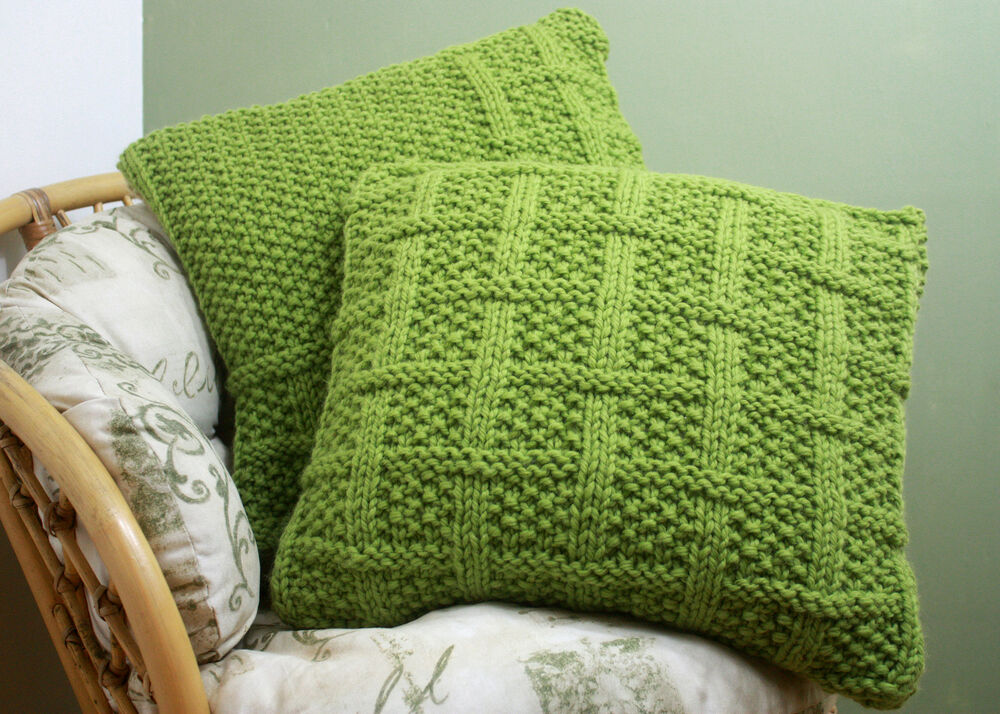 Free Cushion Cover Knitting Patterns : KNITTING PATTERN 003 Square Lattice Pattern CUSHION COVERS Super Chunky Yarn ...