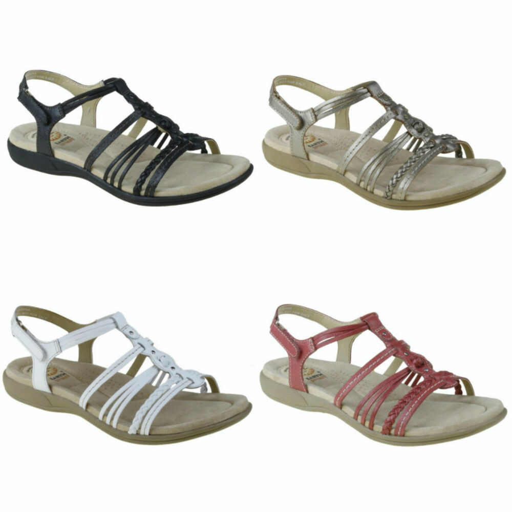 Earth Spirit Freemont Leather Straps Sandals In White