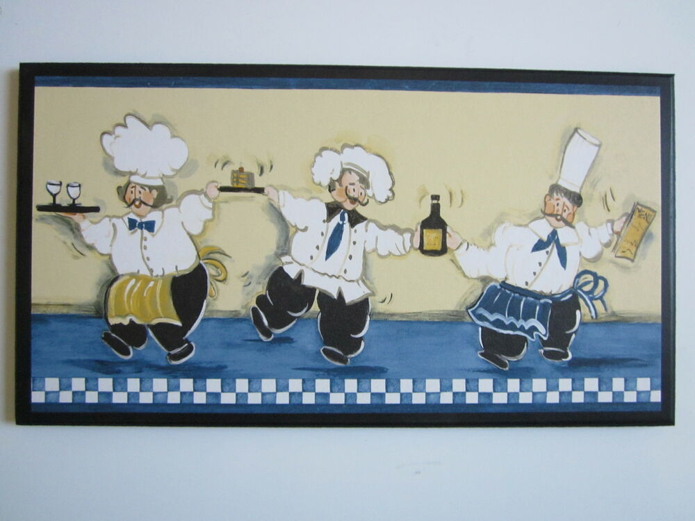 Kitchen Wall Decor Blue : Chefs kitchen wall sign plaque fat french chef decor