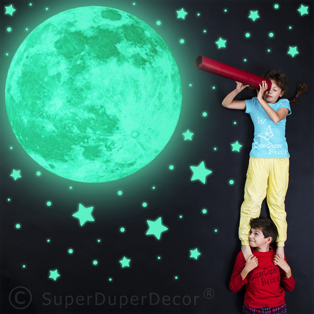 Glow In The Dark Real Moon And Stars Bedroom Wall Stickers