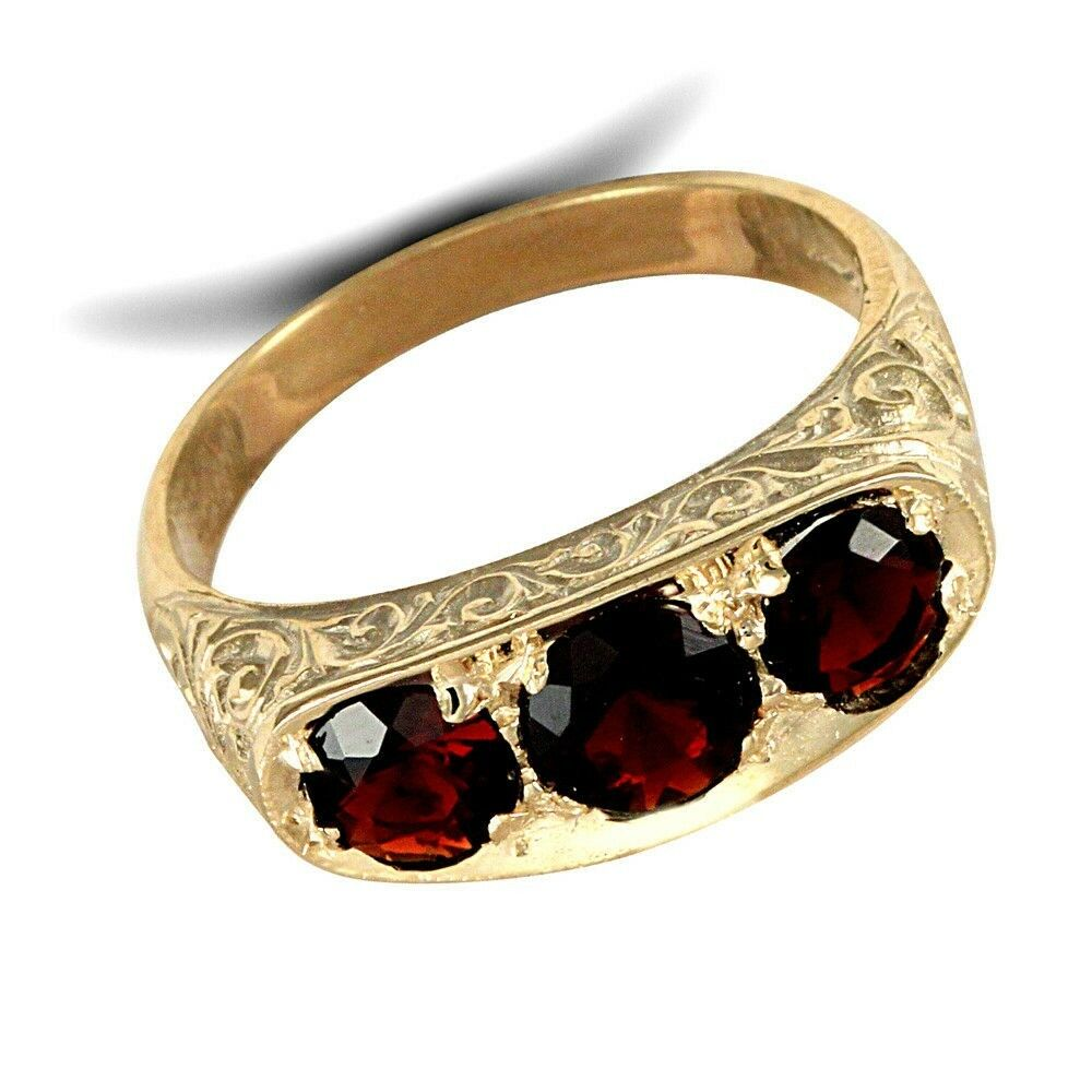 garnet ring men 39 s garnet three stone ring solid yellow. Black Bedroom Furniture Sets. Home Design Ideas