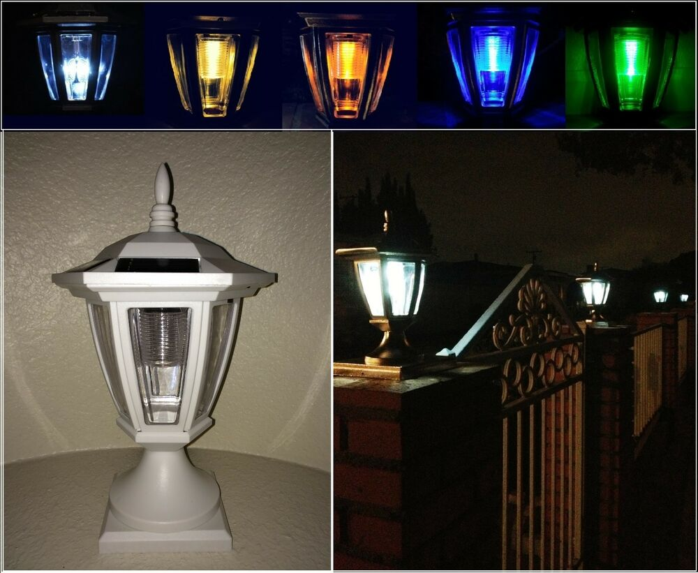 solar light white post cap color led 4x4 5x5 6x6 or wall mount. Black Bedroom Furniture Sets. Home Design Ideas