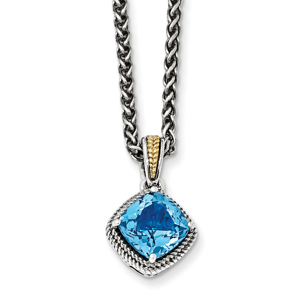 """Blue Topaz 18"""" Necklace Sterling Silver 14k Gold Accent. Mary Medallion. Bride Wedding Rings. Lavender Watches. Tassel Pendant. Diamond Bracelet. Ring And Wedding Band. Enamel Bangle. Water Resistant Watches"""