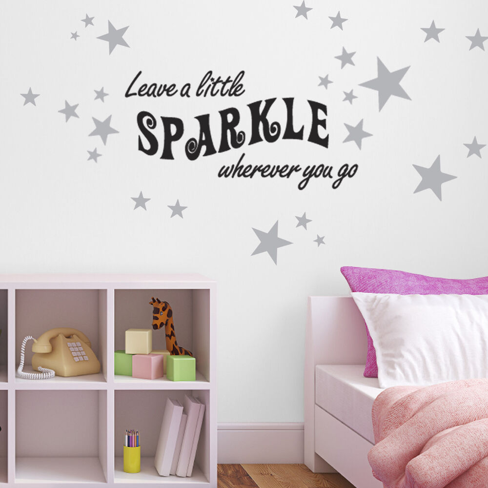 Leave a little sparkle wall sticker pack of 60 silver star sticker included ebay - Sparkle wall decor ...