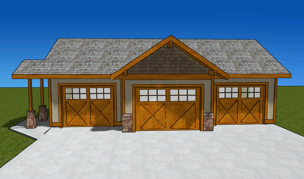44 39 x 28 39 3 bay garage plans with 4 39 x 16 39 bump out and for 4 bay garage plans