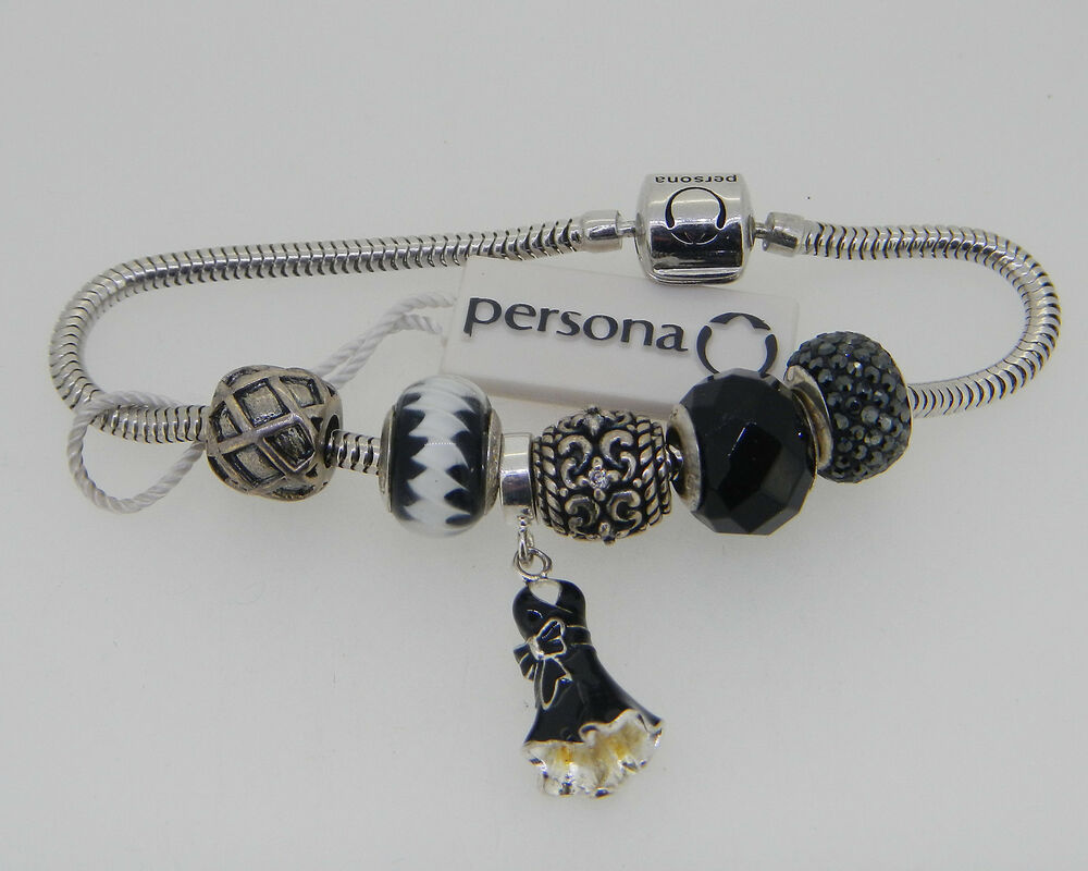 new persona sterling silver charm bracelet with 6 charms