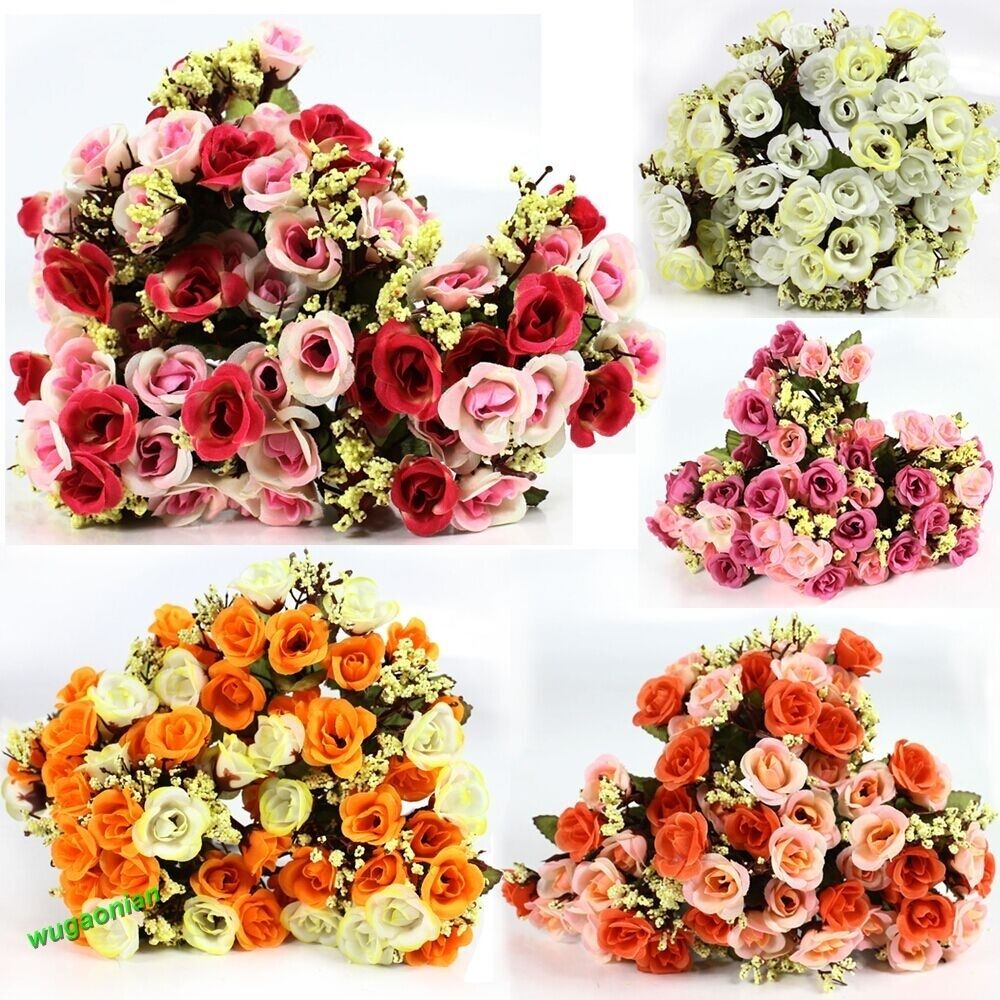 New rose fake silk flower leaf artificial home wedding for Artificial flowers for wedding decoration