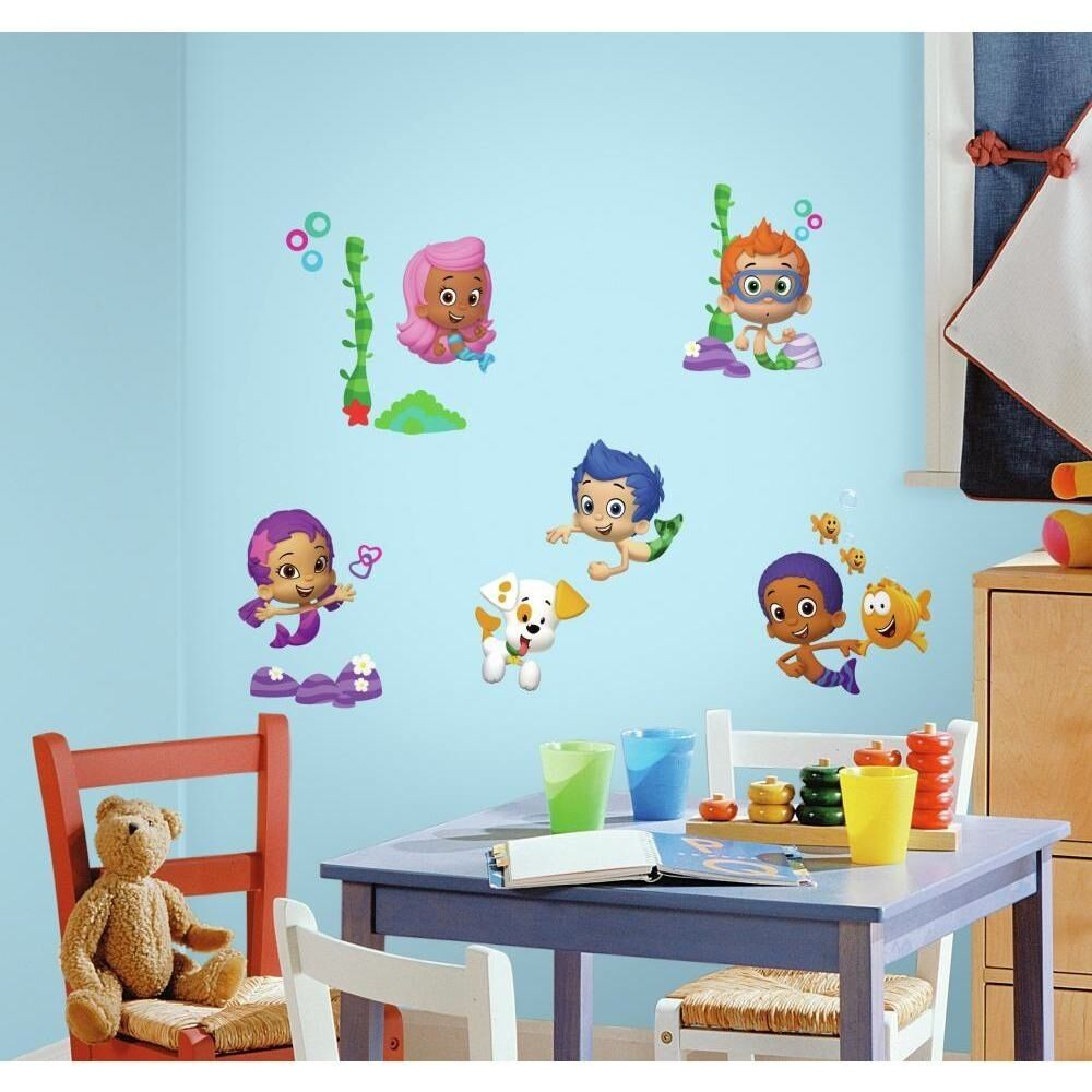 New Bubble Guppies Wall Decals Peel Stick Stickers Kids