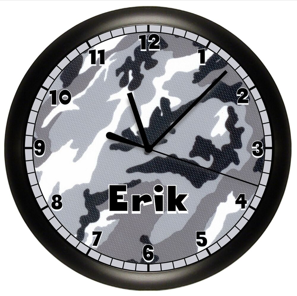 Camouflage Wall Clock Personalized Boys Bedroom Gift Decor