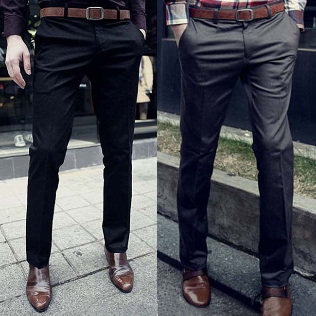Hot Fashion Men Slim Fit Luxury Dress Pants Solid Skinny