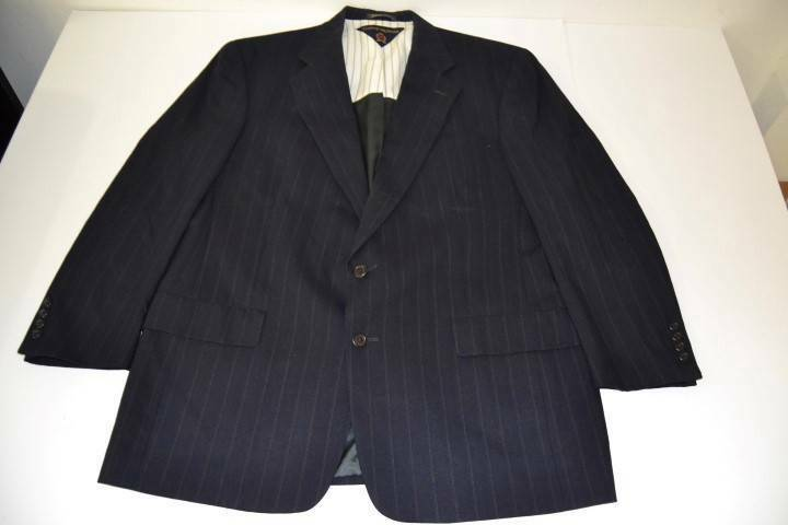 Tommy Hilfiger Navy Blue Striped 2 Button Blazer Coat