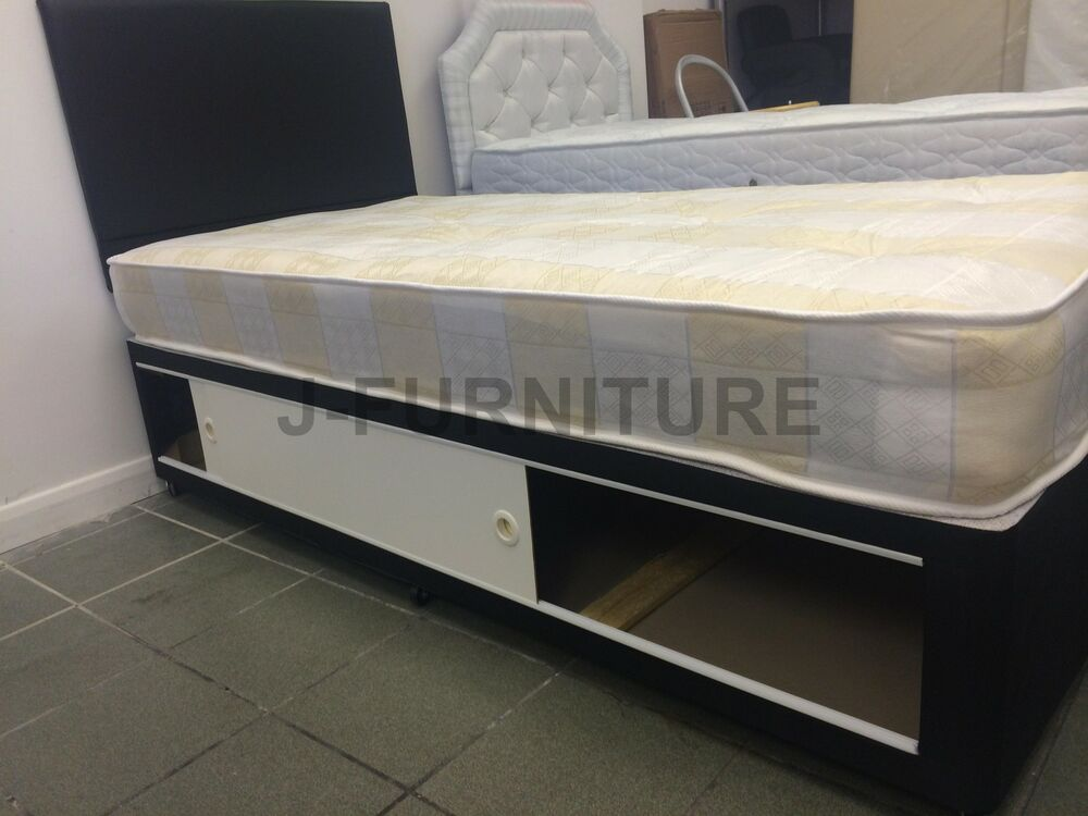 3ft Single Black Base Divan Bed And Medium Mattress Storage Headboard Ebay