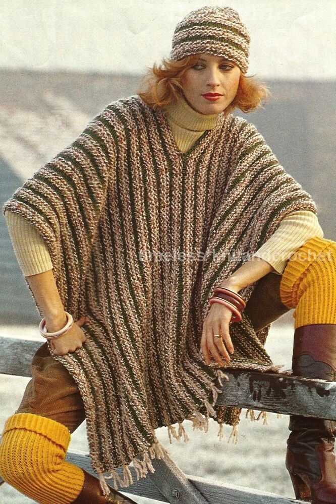 Knitting History Facts : Vintage knitting pattern for a poncho knitted in piece