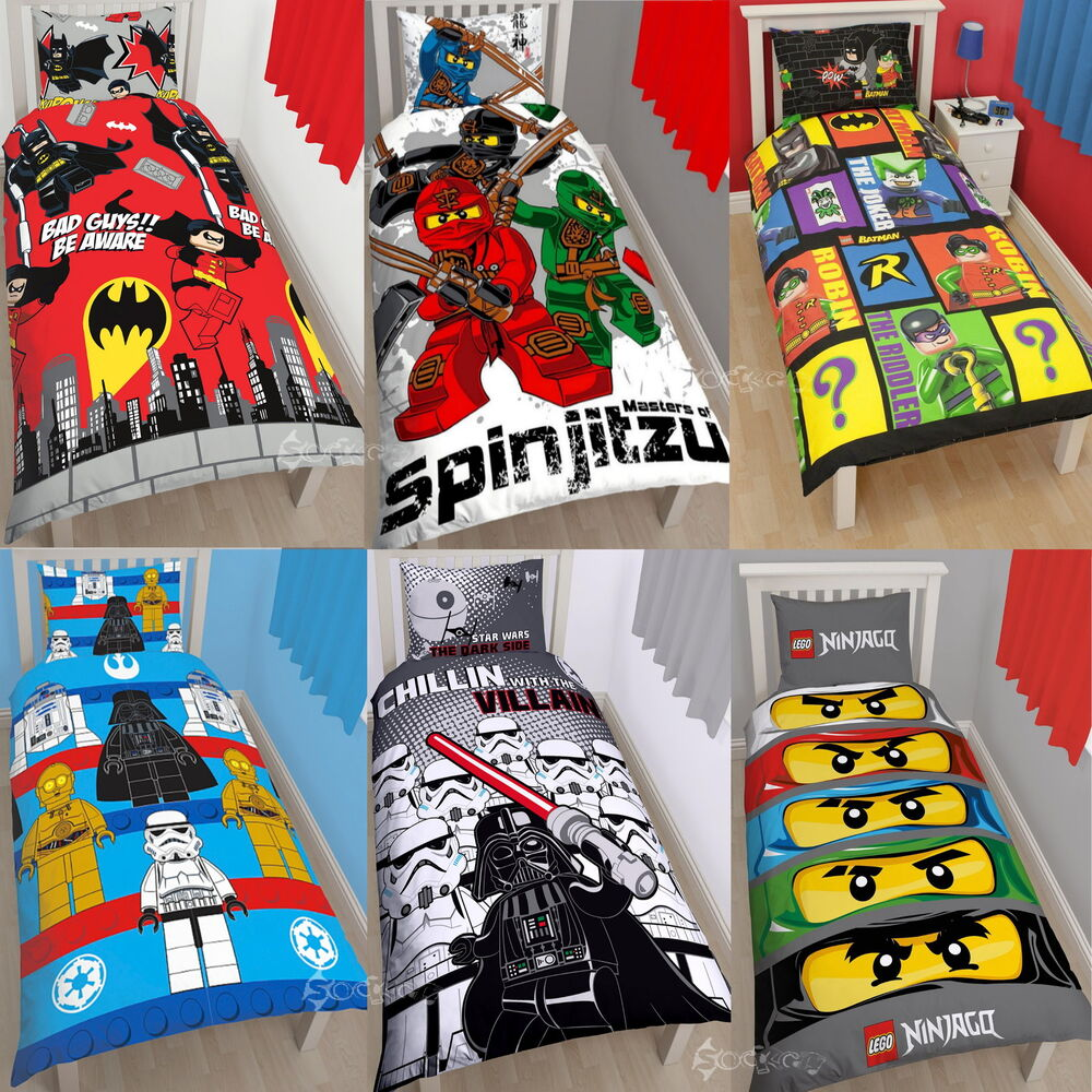Official Lego Single Panel Duvet Cover Bed Set Movie