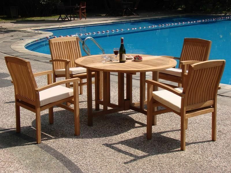 5 PC STACKING TEAK SET OUTDOOR PATIO FURNITURE GARDEN