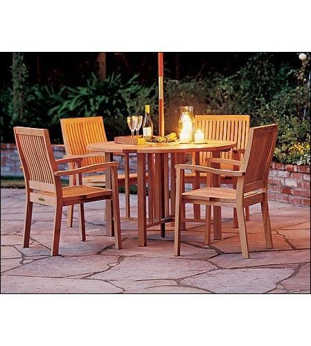 Leveb 5 pc dining teak set garden outdoor patio garden for Round table outdoor dining sets