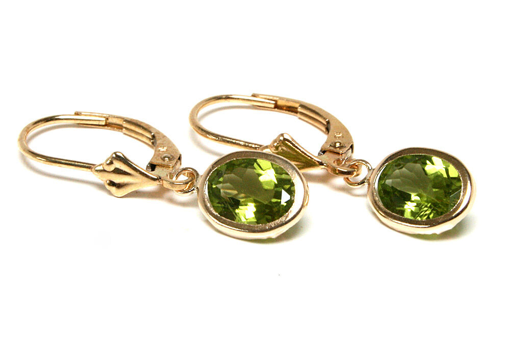9ct Gold Peridot Leverback Drop Earrings Gift Boxed Made