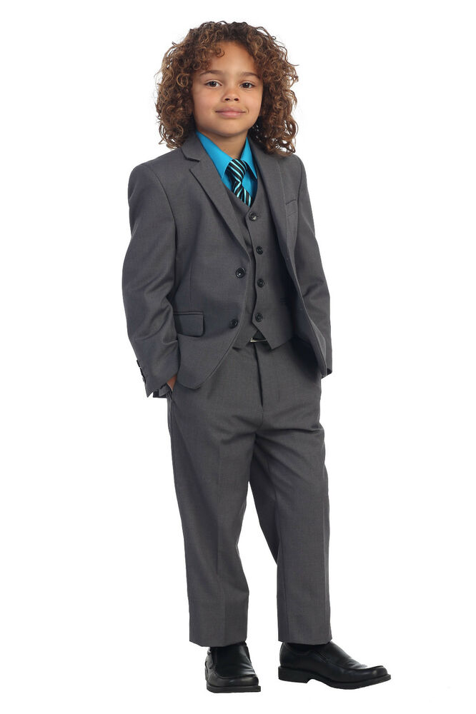 5 Piece Kids Boys Formal Charcoal Suit Vest Pants Dress Shirt U0026 StripeTie Set | EBay