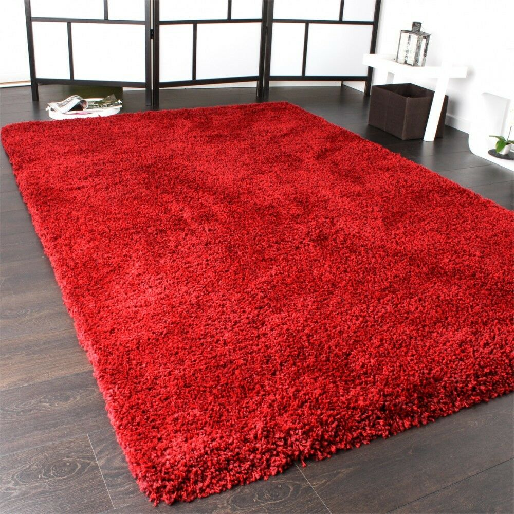 shaggy teppich rio xxl super shaggy hochflor langflor uni rot ebay. Black Bedroom Furniture Sets. Home Design Ideas