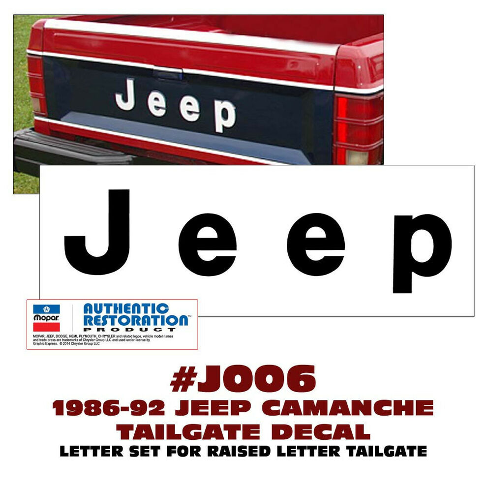 Raised Jeep Wrangler >> QJ-J006 1986-92 JEEP - MJ COMANCHE PICK UP - TAILGATE LETTERS DECAL STICKER KIT | eBay