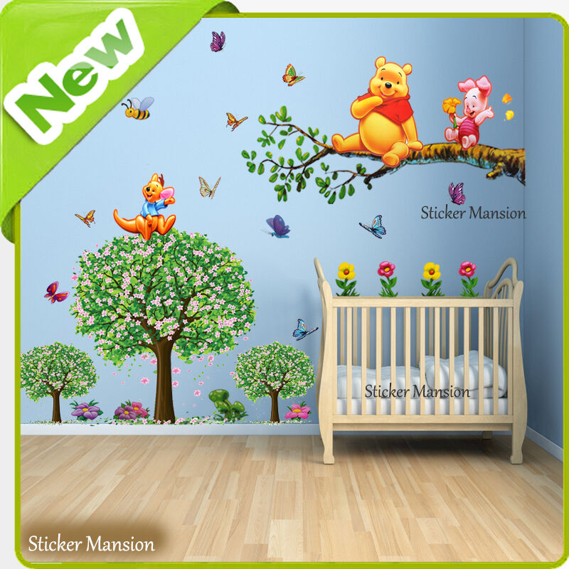 winnie the pooh wall stickers animal butterfly tree baby room nursery decal art ebay. Black Bedroom Furniture Sets. Home Design Ideas