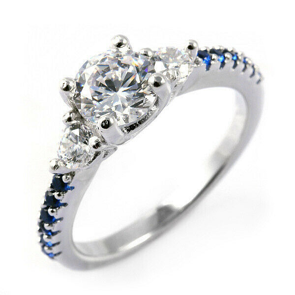 Thin Blue Line Engagement Ring Sterling Silver Round 6 5mm CZ Blue Accents