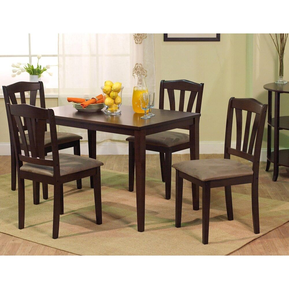 Modern 5pc Dining Table Set Kitchen Dinette Chairs: 5 Piece Dining Set Kitchen Table And Upholstered Chairs