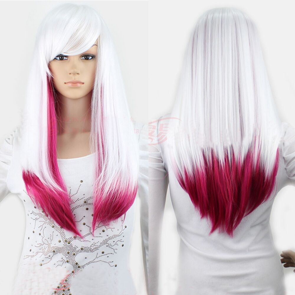 New White Rose Red Lolita Ombre Wig Lady Long Straight