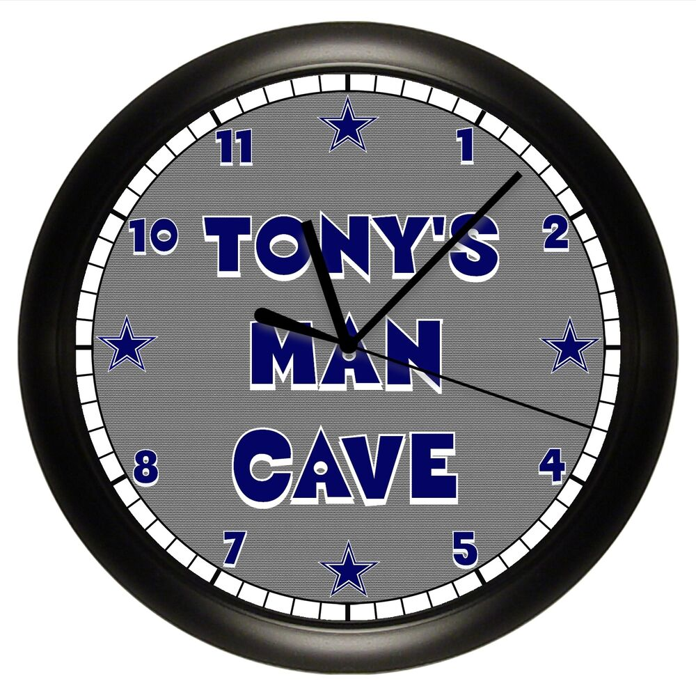 MAN CAVE WALL CLOCK PERSONALIZED GIFT GRAY NAVY BLUE DAD ...