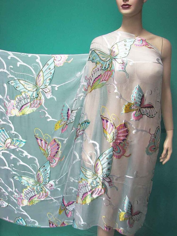 Dressmaking white butterfly burnout silk chiffon fabric w for Dressmaking fabric