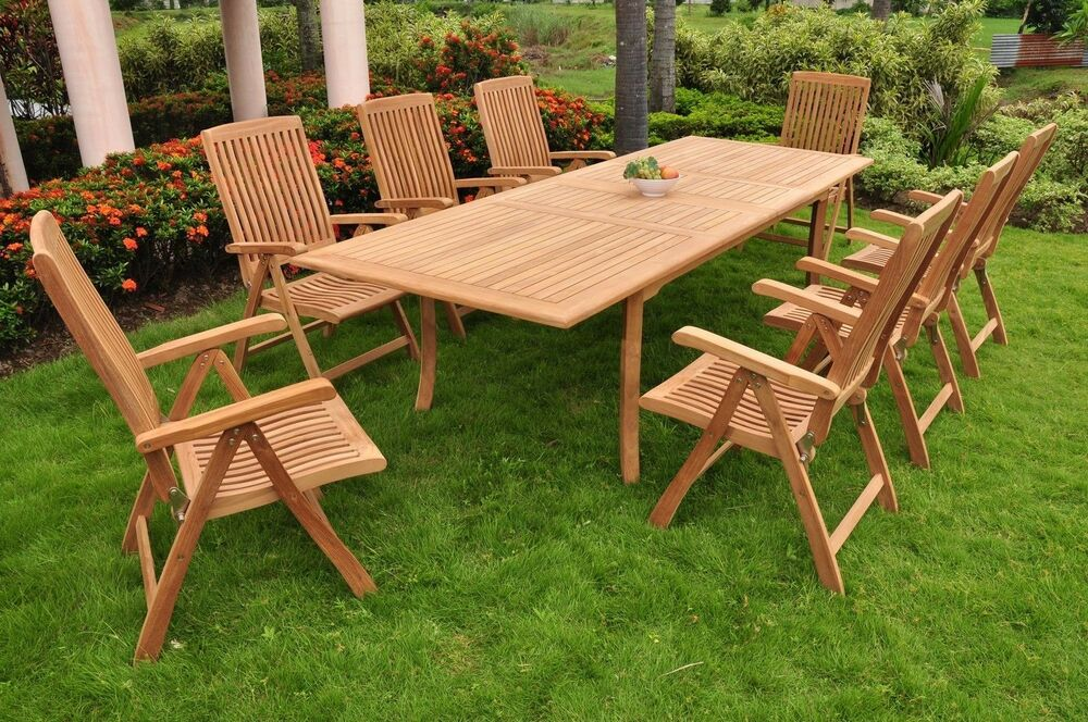 9 PC DINING TEAK RECLINING CHAIRS PATIO FURNITURE MARLEY DINING DECK COLLECTI