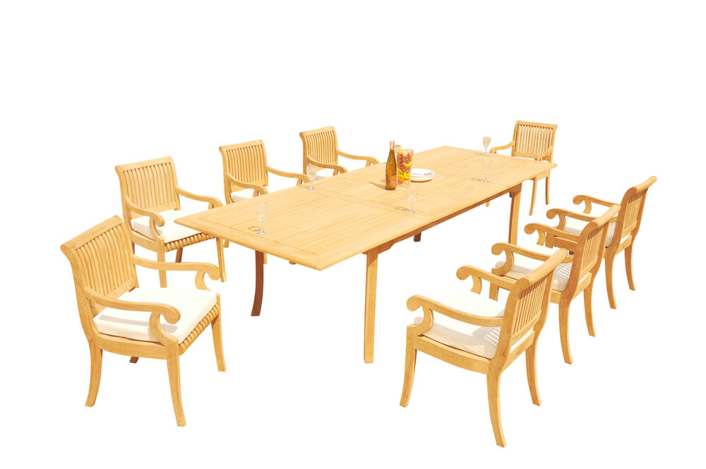 9 PC TEAK SET GARDEN OUTDOOR PATIO FURNITURE POOL
