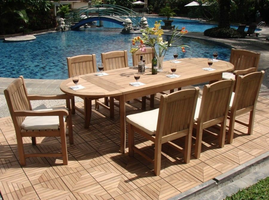 9 PC TEAK DINING SET GARDEN OUTDOOR PATIO FURNITURE POOL