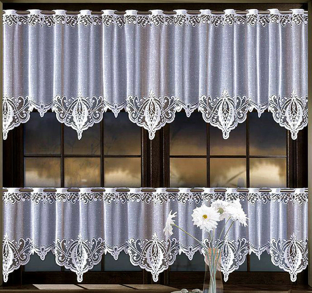 Lace cafe net curtain white 20 28 drop price per metre for Curtains and drapes nyc