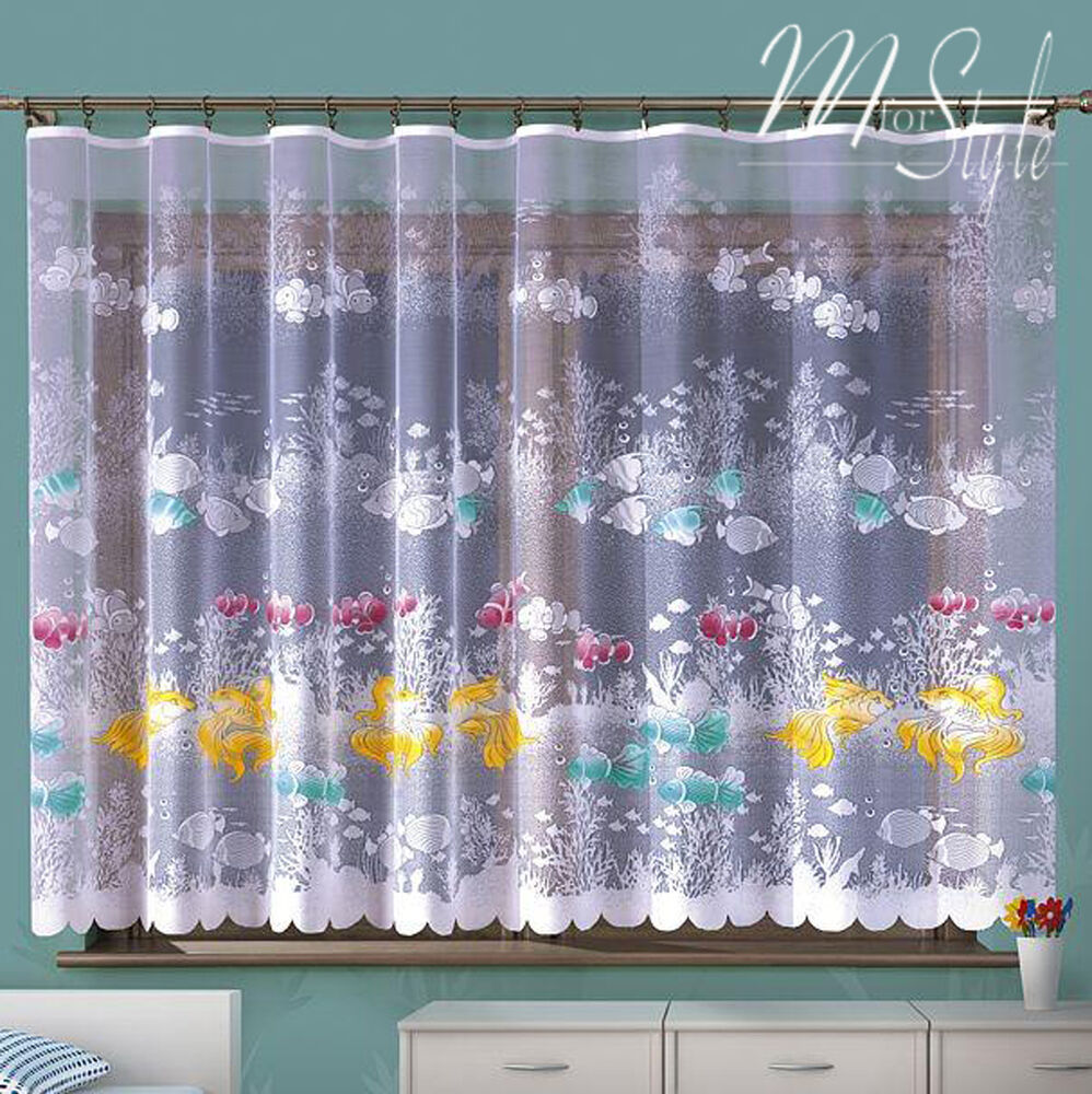 Children 39 s net curtain nemo fish ocean sea life ready made for Fish curtains for windows