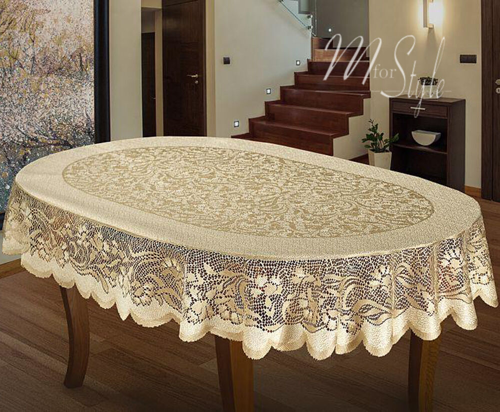 oval tablecloth heavy lace cream golden beige large premium quality ebay. Black Bedroom Furniture Sets. Home Design Ideas