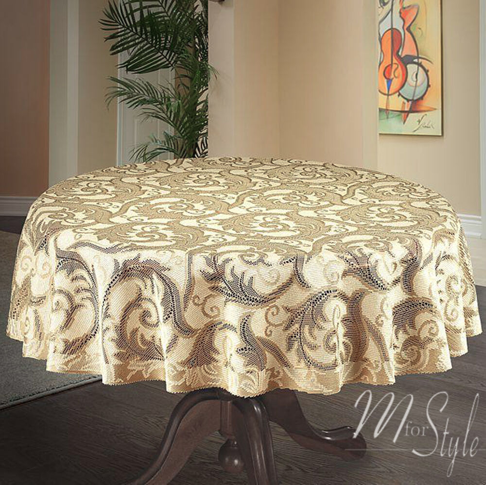 Round Thick Lace Tablecloth Natural Golden Beige 59