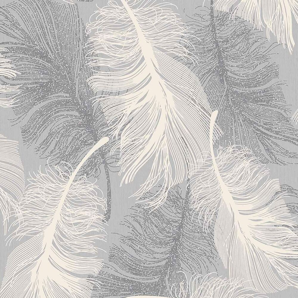 Dappled Grey Feather Wallpaper White and Silver Glitter by ...